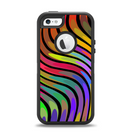 The Swirly Color Change Lines Apple iPhone 5-5s Otterbox Defender Case Skin Set