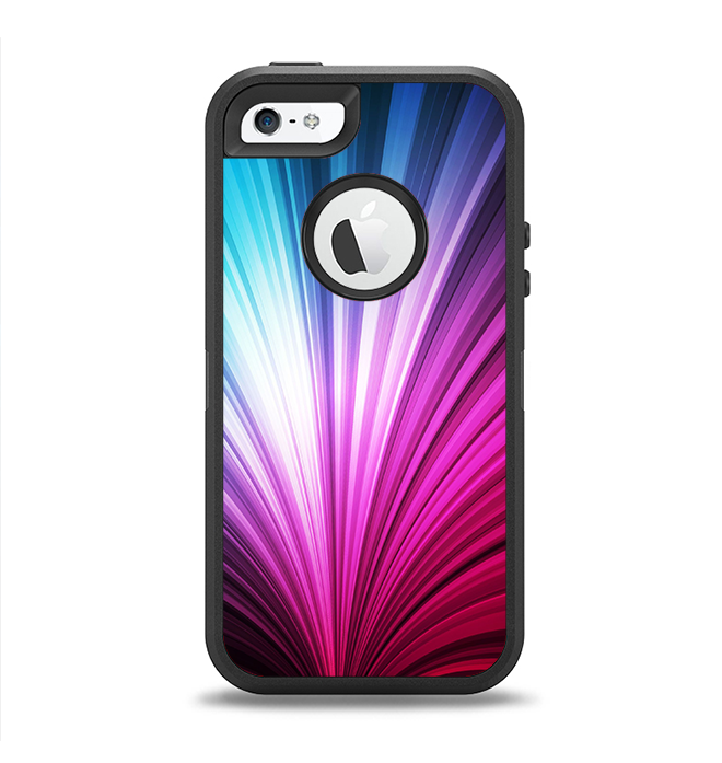 The Swirly HD Pink & Blue Lines Apple iPhone 5-5s Otterbox Defender Case Skin Set