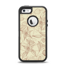 The Tan & Brown Floral Laced Pattern Apple iPhone 5-5s Otterbox Defender Case Skin Set
