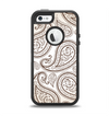 The Tan Highlighted Paisley Pattern Apple iPhone 5-5s Otterbox Defender Case Skin Set