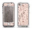 The Tan Music Note Pattern Apple iPhone 5-5s LifeProof Nuud Case Skin Set