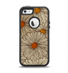 The Tan & Orange Tipped Flowers Pattern Apple iPhone 5-5s Otterbox Defender Case Skin Set