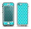 The Teal And White Seamless Morocan Pattern Apple iPhone 5-5s LifeProof Nuud Case Skin Set