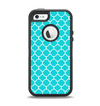 The Teal And White Seamless Morocan Pattern Apple iPhone 5-5s Otterbox Defender Case Skin Set