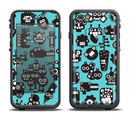 The Teal & Black Toon Robots Apple iPhone 6/6s LifeProof Fre Case Skin Set