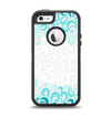 The Teal Blue & White Swirl Pattern Apple iPhone 5-5s Otterbox Defender Case Skin Set