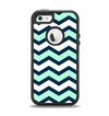 The Teal & Blue Wide Chevron Pattern Apple iPhone 5-5s Otterbox Defender Case Skin Set