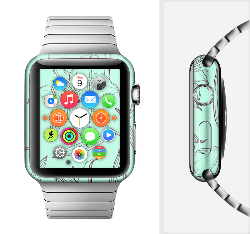The Teal & Brown Thin Flower Pattern Full-Body Skin Set for the Apple Watch