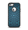 The Teal Floral Mirrored Pattern Apple iPhone 5-5s Otterbox Defender Case Skin Set