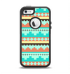 The Teal & Gold Tribal Ethic Geometric Pattern Apple iPhone 5-5s Otterbox Defender Case Skin Set