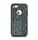 The Teal Leaf Foliage Pattern Apple iPhone 5-5s Otterbox Defender Case Skin Set