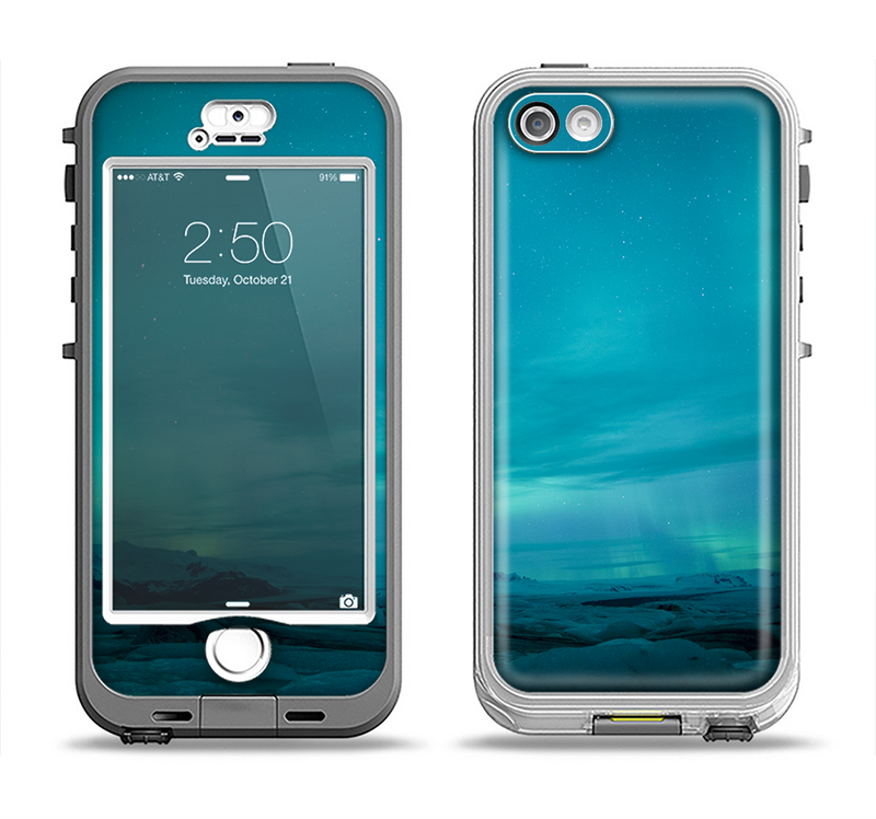 The Teal Northern Lights Apple iPhone 5-5s LifeProof Nuud Case Skin Set
