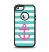 The Teal Striped Pink Anchor Apple iPhone 5-5s Otterbox Defender Case Skin Set