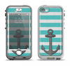 The Teal Stripes with Gray Nautical Anchor Apple iPhone 5-5s LifeProof Nuud Case Skin Set