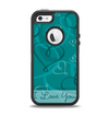 The Teal Swirly Vector Love Hearts Apple iPhone 5-5s Otterbox Defender Case Skin Set