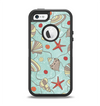 The Teal Vintage Seashell Pattern Apple iPhone 5-5s Otterbox Defender Case Skin Set