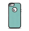 The Teal Vintage Stripe Pattern v7 Apple iPhone 5-5s Otterbox Defender Case Skin Set