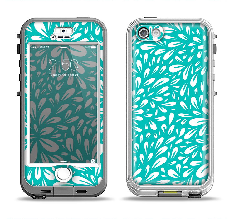 The Teal and White Floral Sprout Apple iPhone 5-5s LifeProof Nuud Case Skin Set