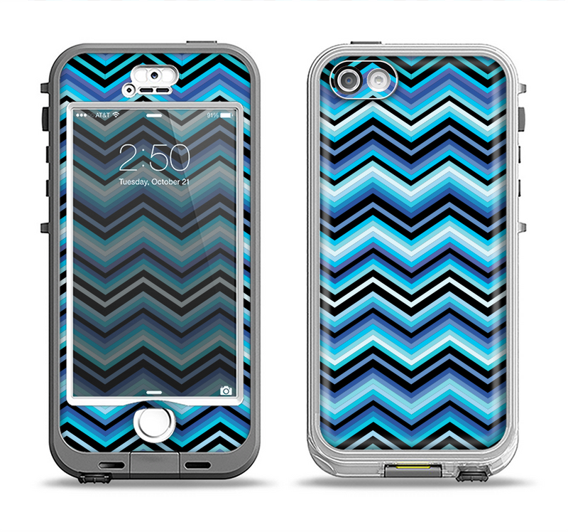 The Thin Striped Blue Layered Chevron Pattern Apple iPhone 5-5s LifeProof Nuud Case Skin Set