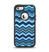 The Thin Striped Blue Layered Chevron Pattern Apple iPhone 5-5s Otterbox Defender Case Skin Set