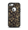 The Tiny Gold Floral Sprockets Apple iPhone 5-5s Otterbox Defender Case Skin Set