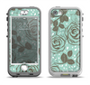 The Toned Green Vector Roses and Birds Apple iPhone 5-5s LifeProof Nuud Case Skin Set