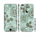 The Toned Green Vector Roses and Birds Sectioned Skin Series for the Apple iPhone 6/6s Plus