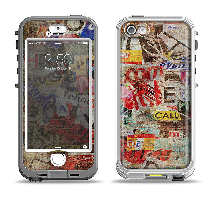 The Torn Newspaper Letter Collage V2 Apple iPhone 5-5s LifeProof Nuud Case Skin Set