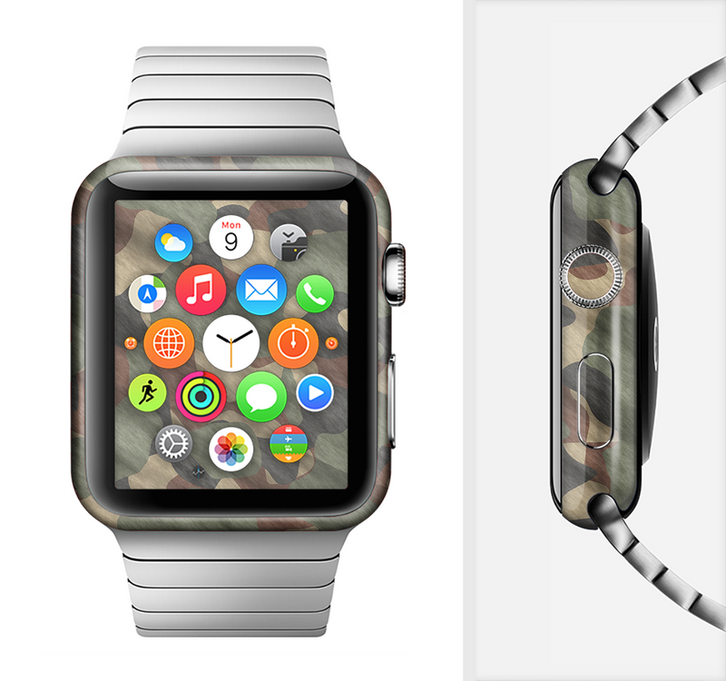 The Traditional Camouflage Fabric Pattern Full-Body Skin Set for the Apple Watch
