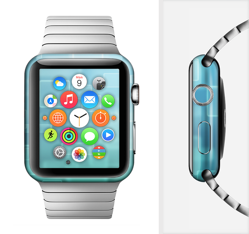 The Transparent Green & Blue 3D Squares Full-Body Skin Set for the Apple Watch