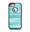 The Trendy Blue Abstract Wood Planks Apple iPhone 5-5s Otterbox Defender Case Skin Set