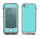 The Trendy Blue & White Sharp Chevron Pattern Apple iPhone 5-5s LifeProof Nuud Case Skin Set