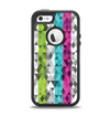The Trendy Colored Striped Abstract Cube Pattern Apple iPhone 5-5s Otterbox Defender Case Skin Set