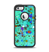 The Trendy Green with Splattered Paint Droplets Apple iPhone 5-5s Otterbox Defender Case Skin Set