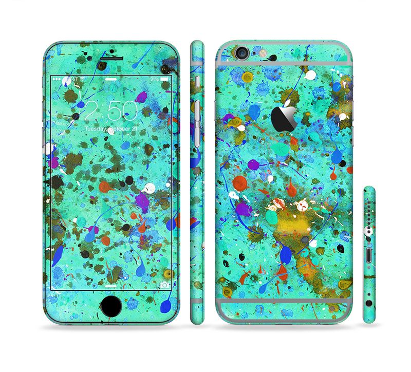 The Trendy Green with Splattered Paint Droplets Sectioned Skin Series for the Apple iPhone 6/6s Plus