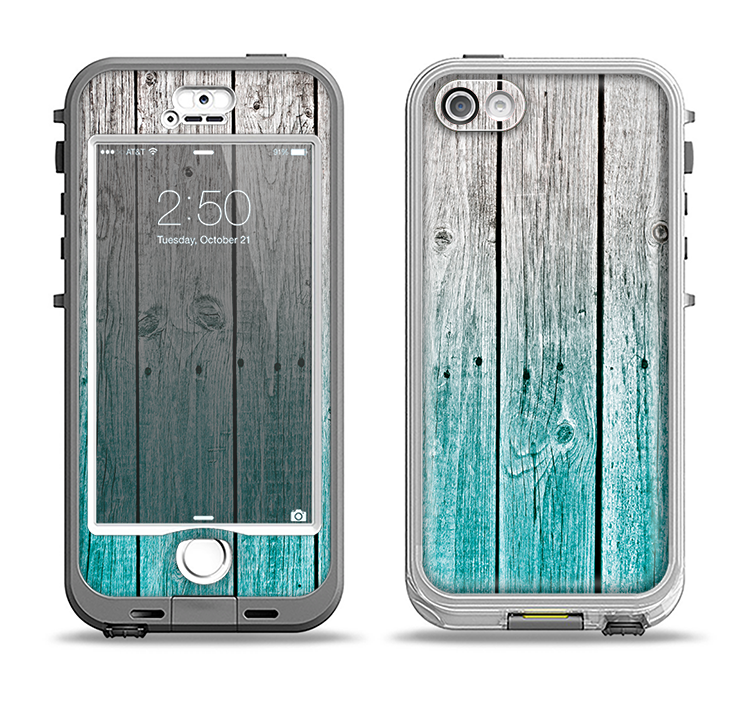 The Trendy Teal to White Aged Wood Planks Apple iPhone 5-5s LifeProof Nuud Case Skin Set