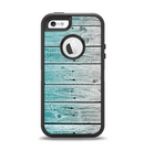 The Trendy Teal to White Aged Wood Planks Apple iPhone 5-5s Otterbox Defender Case Skin Set