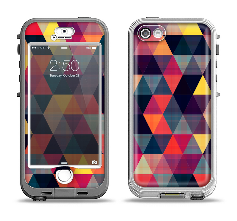 The Triangular Abstract Vibrant Colored Pattern Apple iPhone 5-5s LifeProof Nuud Case Skin Set
