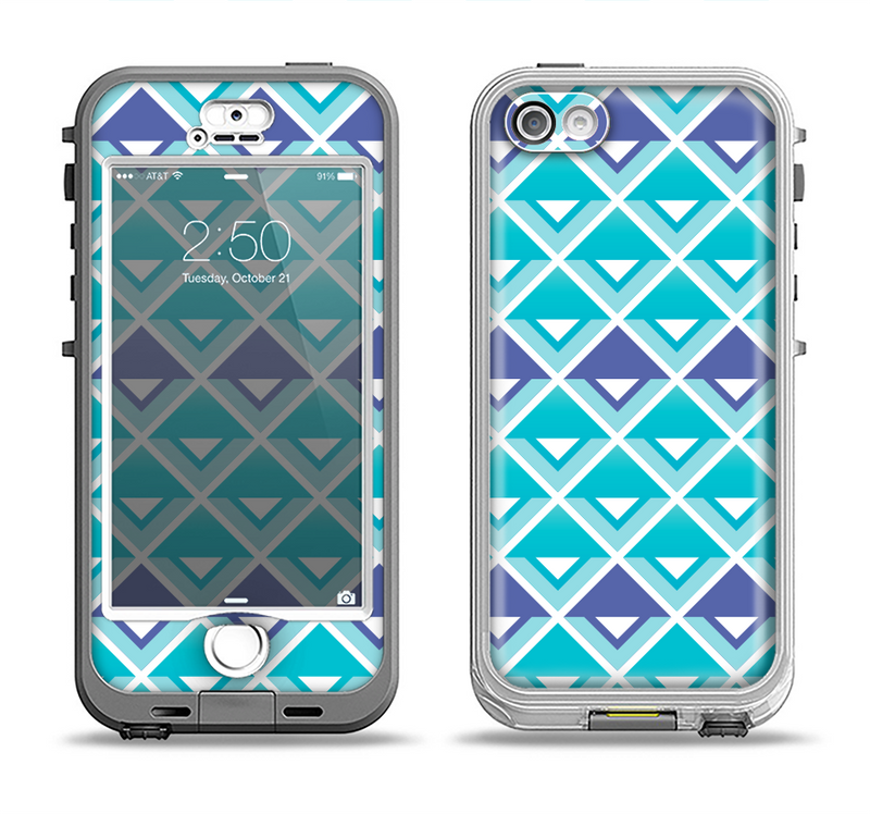 The Triangular Teal & Purple Abstract Cubes Apple iPhone 5-5s LifeProof Nuud Case Skin Set