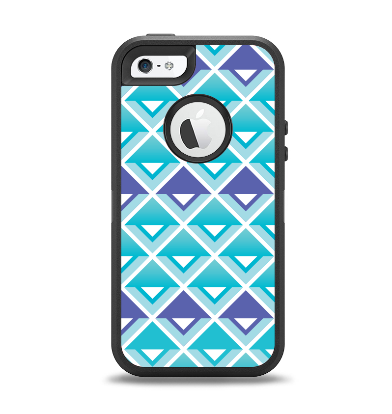 The Triangular Teal & Purple Abstract Cubes Apple iPhone 5-5s Otterbox Defender Case Skin Set