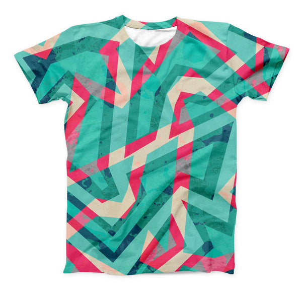 The Trippy Retro Pattern ink-Fuzed Unisex All Over Full-Printed Fitted Tee Shirt