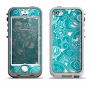 The Turquoise Fancy White Floral Design Apple iPhone 5-5s LifeProof Nuud Case Skin Set