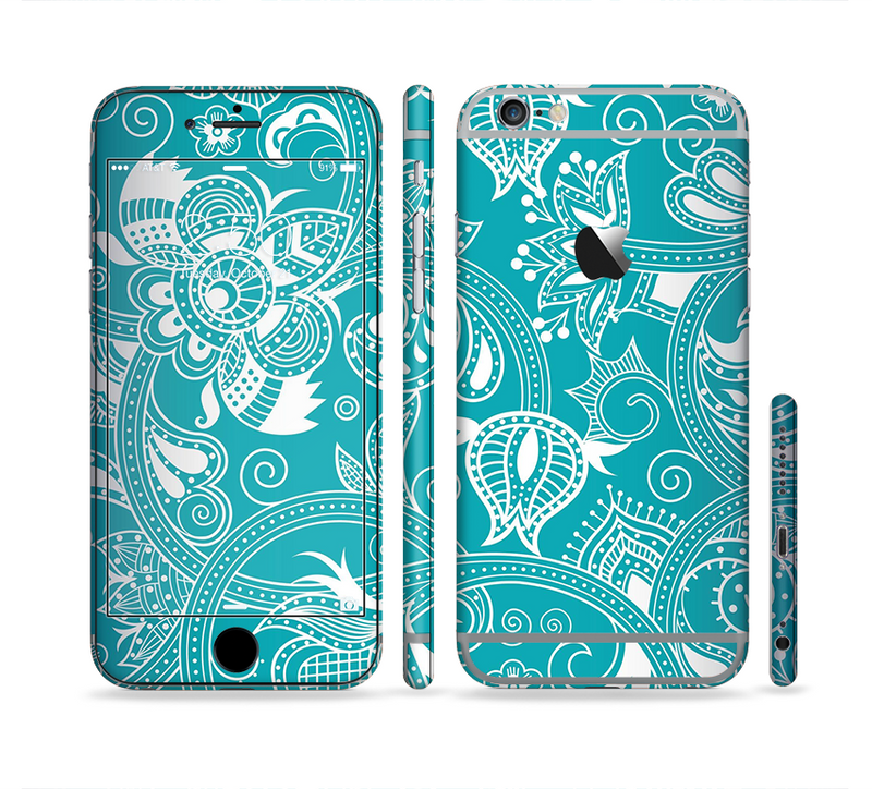 The Turquoise Fancy White Floral Design Sectioned Skin Series for the Apple iPhone 6/6s Plus