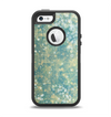 The Unfocused Green & White Drop Surface Apple iPhone 5-5s Otterbox Defender Case Skin Set