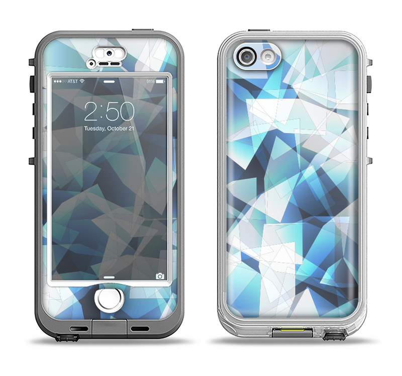 The Vector Abstract Shaped Blue Overlay V3 Apple iPhone 5-5s LifeProof Nuud Case Skin Set