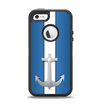 The Vector Blue and Gray Anchor with White Stripe Apple iPhone 5-5s Otterbox Defender Case Skin Set