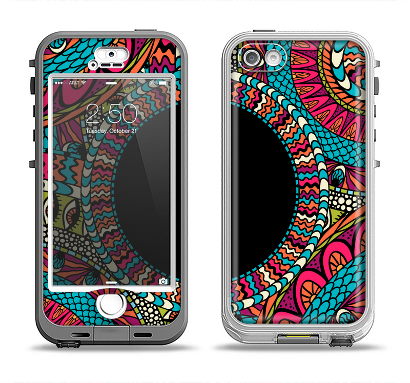 The Vector Colored Aztec Pattern WIth Black Connect Point Apple iPhone 5-5s LifeProof Nuud Case Skin Set