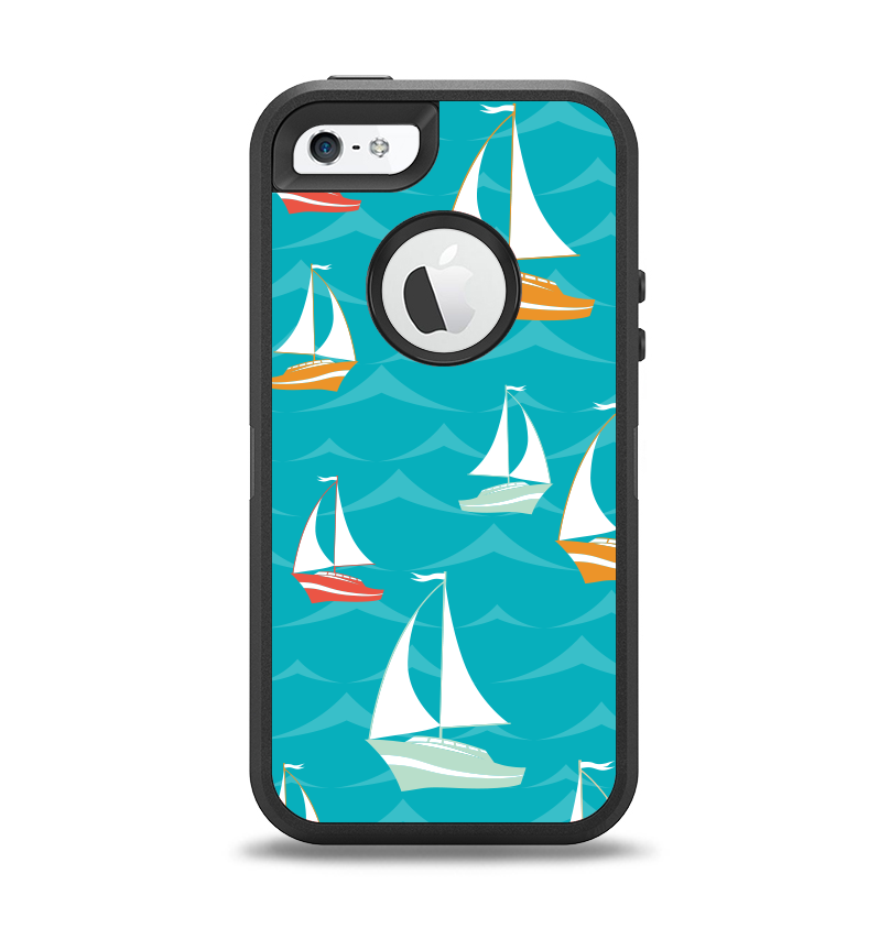The Vector Colored Sailboats Apple iPhone 5-5s Otterbox Defender Case Skin Set