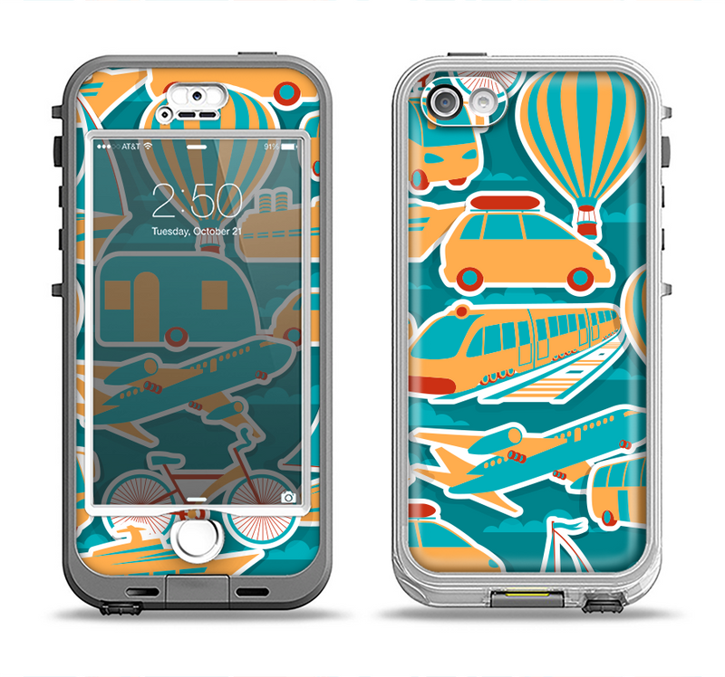 The Vector Colored Transportation Clipart Apple iPhone 5-5s LifeProof Nuud Case Skin Set