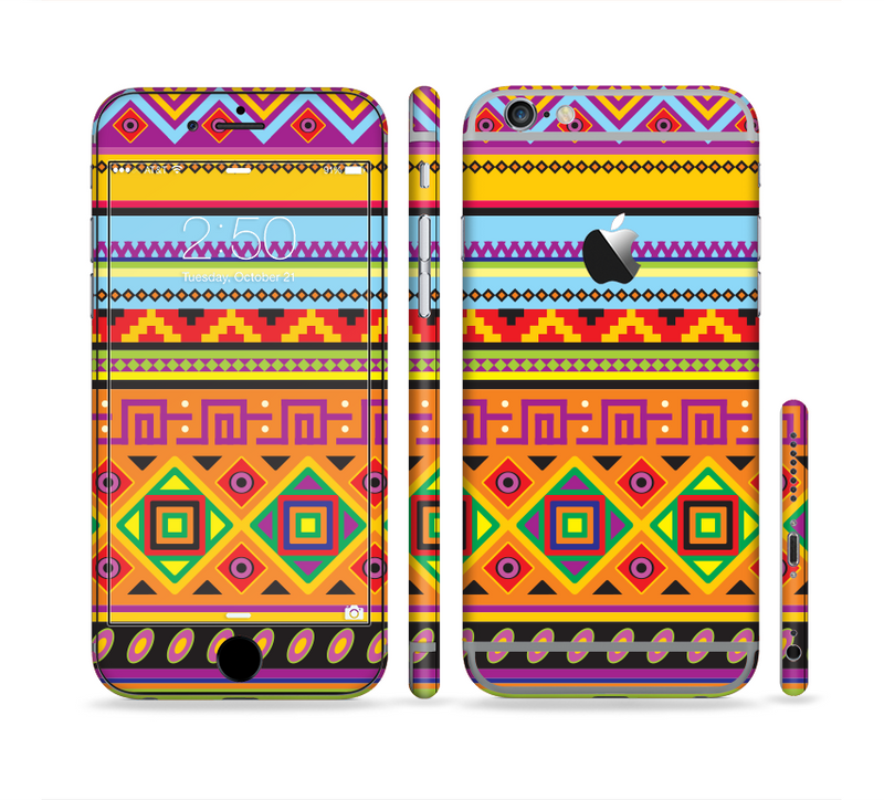 The Vector Gold & Purple Aztec Pattern V32 Sectioned Skin Series for the Apple iPhone 6/6s Plus